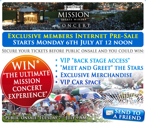 "Exclusive offer to Mission Concert Club Members – Buy Tickets before they go on-sale to the public. Secure your tickets first and have a chance to Win ""The Ultimate Mission Concert Experience"""